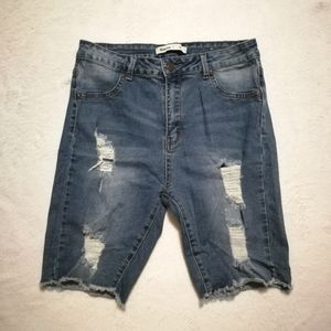 Bluenotes Distressed High Rise Bermuda Jean Shorts